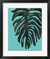 Framed Tropical Palm II BW Turquoise