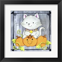 Framed Pumpkins and Kitty 1