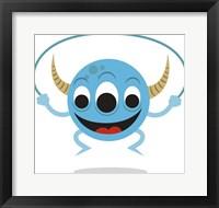 Framed Cute Blue Monster