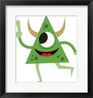 Framed Cute Green Monster