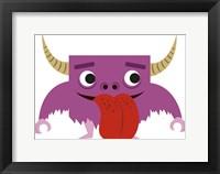 Framed Cute Purple Monster