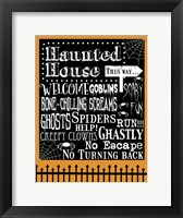 Framed Haunted House Welcome Flag Outlines