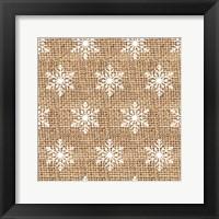 Framed Burlap White Snowflakes
