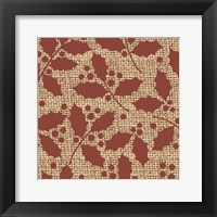 Framed Red Holly Branches Burlap