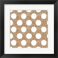 Framed White Burlap Dots