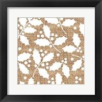 Framed White Holly Branches Burlap