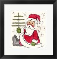 Framed Santa Holding Tree
