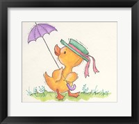 Framed Duck With Umbrella