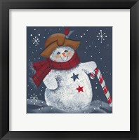 Framed Snomwan With Candy Cane
