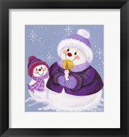 Framed Snowmen In Purple With Candle