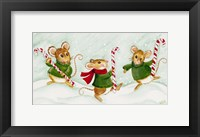 Framed 3 Mice With Candy Canes