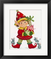 Framed Elf With 3 Mice