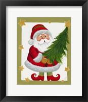 Framed Santa With Tree And Stars