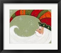 Framed Santa In Elf's Hat