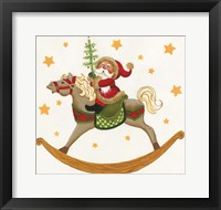 Framed Santa On Rocking Horse