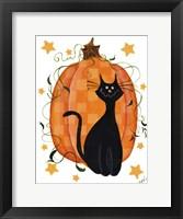 Framed Checked Pumpkin & Cat