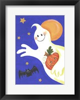Framed Ghost With Pumpkin And Orange Moon