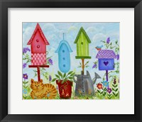 Framed Bird Houses In Garden