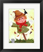 Framed Scarecrow With Crow & Mouse
