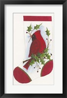 Framed Cardinal With Holly Stocking
