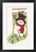 Framed Snowman With Broom Stocking