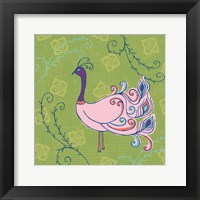 Framed Pink Peacock