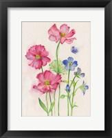 Framed Pink & Blue Flowers