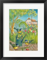 Framed Birds by the Watering Can