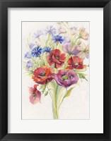 Framed Red & Blue Flowers