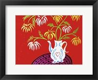 Framed Teapot Vase - Red