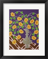 Framed Floral Urn - Gray