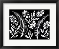 Framed Ferns and Flowers - BW