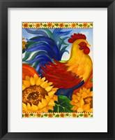 Framed Rooster with Sunflower Border