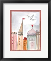 Framed Fantasy Cityscape With Dove