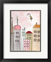 Framed Fantasy Cityscape With Flying Nanny