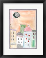 Framed Fantasy Cityscape With Flying Witch On Broom