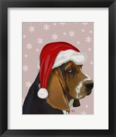 Framed Basset Hound, Christmas Hat