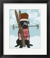 Framed Black Labrador, Skiing
