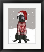 Framed Black Labrador, Christmas Sweater 1