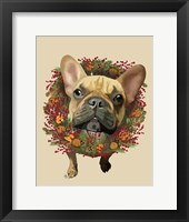 Framed French Bulldog, Cranberry Wreath