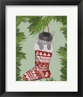 Framed Grey Kitten in Christmas Stocking