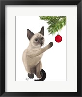Framed Siamese Cat and Bauble