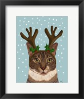 Framed Calico Cat and Antlers