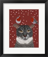 Framed Grey Cat and Robins