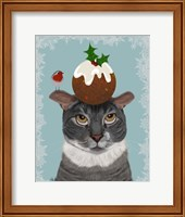 Framed Grey Cat and Christmas Pudding