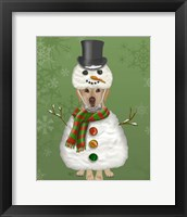 Framed Yellow Labrador, Snowman Costume