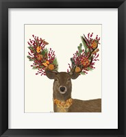 Framed Deer, Cranberry and Orange Wreath