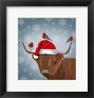 Framed Highland Cow and Robins