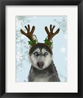 Framed Husky and Antlers