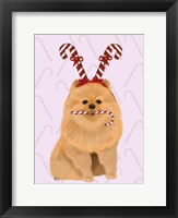 Framed Pomeranian and Candy Canes